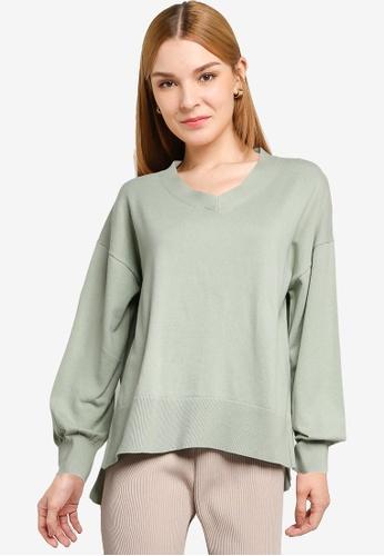 LOWRYS FARM green Balloon Sleeves Knit Sweater 88DF3AA8753133GS_1