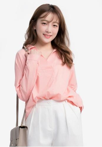 Kodz pink Relaxed Collar Long Sleeve Blouse F7E0BAAB8D8DEDGS_1