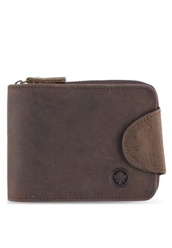 Lumberjacks brown Lumberjacks Genuine Leather Zipper Wallet LU545AC0SMCZMY_1