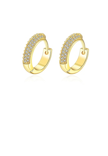 Glamorousky white Simple Flashing Plated Gold Round Cubic Zircon Earrings 1CCB1AC732C11FGS_1