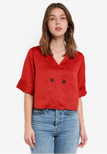 TOPSHOP red Spot Animal Tie Back Blouse 8BC56AA41B6947GS_1