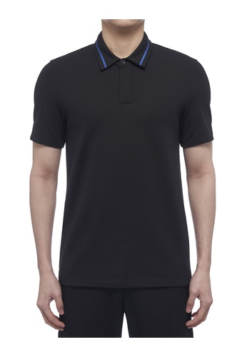 CK CALVIN KLEIN black Stretch Mercerised Cotton Pique Short-Sleeved Polo 20DB4AA056B1BDGS_1