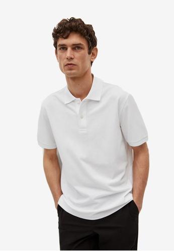 MANGO Man white Technical Cotton Piqué Polo Shirt 9B4E3AAFB253A2GS_1