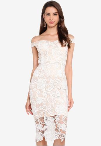 MISSGUIDED white Lace Bardot Midi Dress 29F0CAA30E1E74GS_1