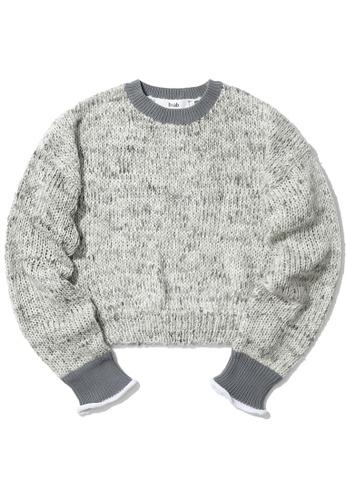 b+ab grey Contrast trim knit sweater BCEFAAADEFB685GS_1