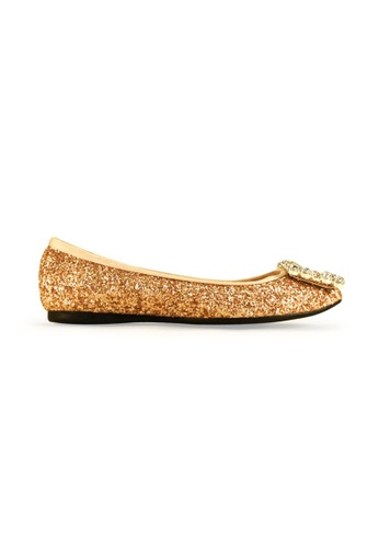 Gripz gold Mel Round Toe Glitter Flats GR357SH14IQRSG_1