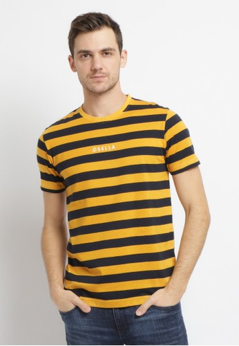 Osella yellow Osella Baju Pria T-shirt Lengan Pendek Yellow Stripe Bordir Osella 9B684AA71D7627GS_1