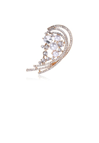 Glamorousky white Fashion and Simple Plated Gold Hollow Geometric Imitation Pearl Brooch with Cubic Zirconia DD2C2AC975E030GS_1