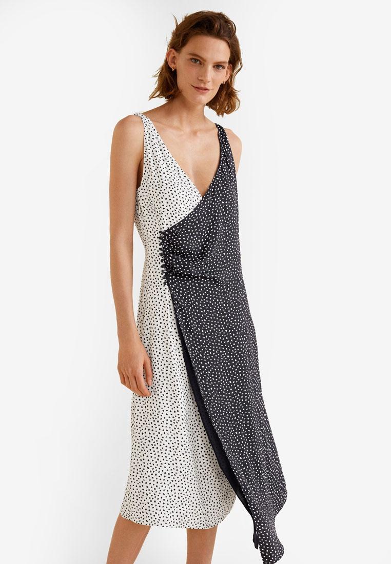 Dress Contrasted Mango Bodice Wrap Navy qHYEnU
