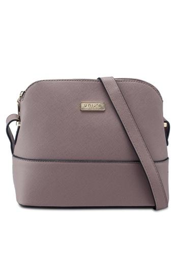 Unisa purple Saffiano Texture Shell Shape Mini Sling Bag FC694AC07B05DFGS_1