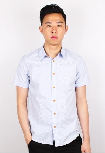 Moley blue Design Patterned Short Sleeve Shirt MO329AA0GMQXSG_1