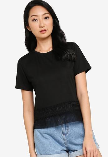 ZALORA BASICS black Lace Hem T Shirt 0FBEFAA61E6FF0GS_1