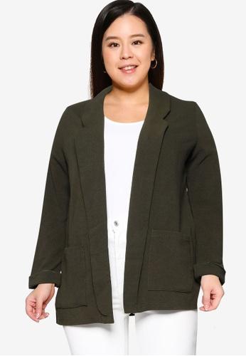 Only CARMAKOMA green Plus Size Betty Blazer 7970EAAF2DB9FEGS_1
