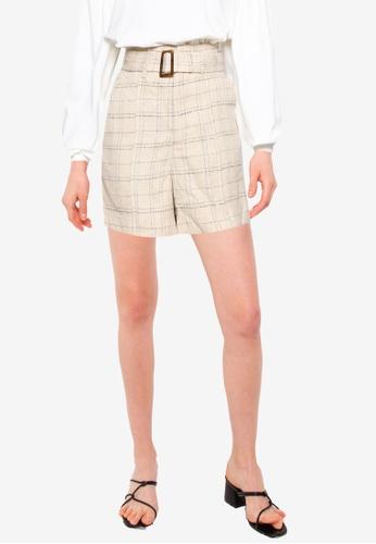 Heather beige Tweed Shorts F1550AAAB98F8FGS_1