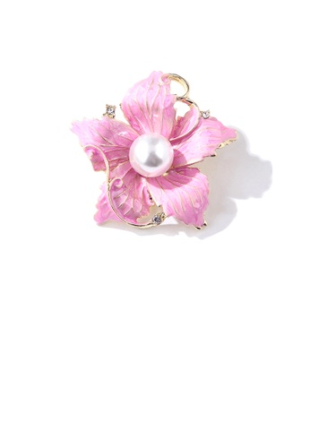 Glamorousky white Elegant and Fashion Pink Flower Imitation Pearl Brooch with Cubic Zirconia BEC92AC5AB28B4GS_1