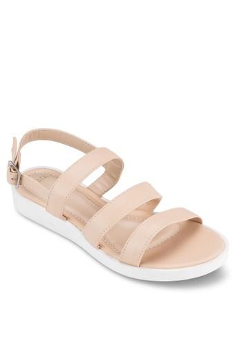 多帶繞踝厚底涼zalora 心得鞋, 女鞋, 鞋