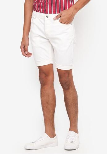 Topman white Off White Skinny Denim Shorts 39707AA3A286D6GS_1