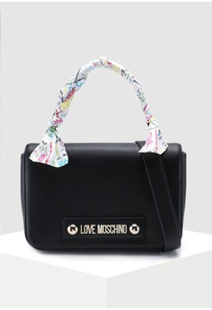 e3f377b026a Love Moschino black Soft Grain Shoulder Bag CB7E0ACD36089AGS 1