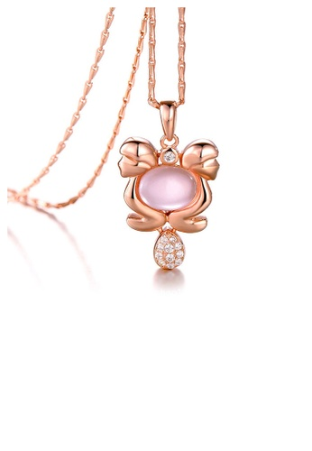 Glamorousky pink Plated Rose Gold Twelve Horoscope Gemini Pendant with White Cubic Zircon and Necklace 02EC7AC09F884BGS_1