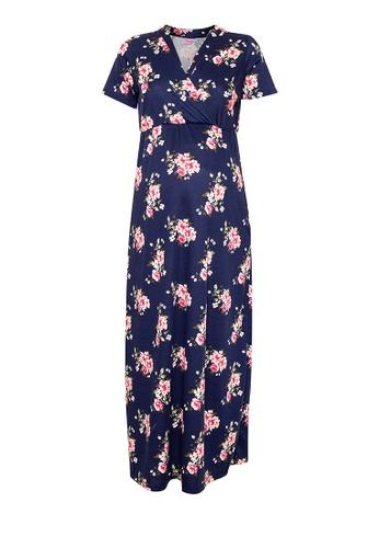 BUNTIS blue Erlin Nursing Maternity Maxi Dress 51DDDAA04E17FBGS_1