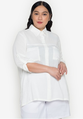 Maxine white Plus Size 3/4 Shirt with Pockets 27A6CAA3717C9EGS_1