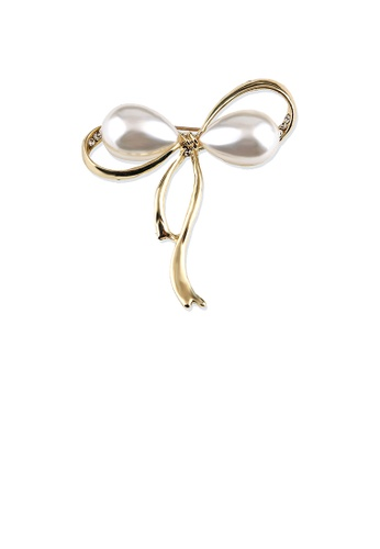 Glamorousky white Simple Temperament Plated Gold Ribbon Brooch with Imitation Pearls 45B8EACC439191GS_1