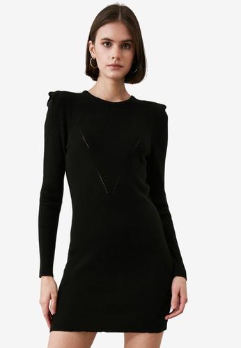 Trendyol black Shoulder Detail Ribbed Dress E6A73AA002AE0EGS_1