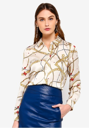 Vero Moda white Chain L/S Shirt 88C2EAAC4B5D29GS_1