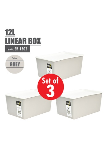 HOUZE grey [SET OF 3] HOUZE 12L Linear Box - Grey E2007HL9ABA64BGS_1
