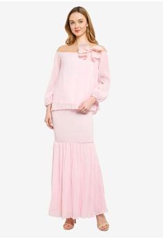 09982aa326c Lubna pink Embellished Puff Sleeves Flare Kurung 03EC9AA6941B86GS 1