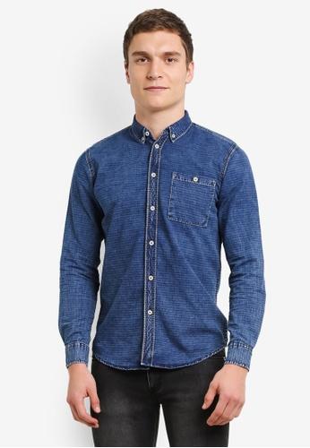 Electro Denim Lab blue Indigo Slim Dobby Shirt EL966AA0SF82MY_1