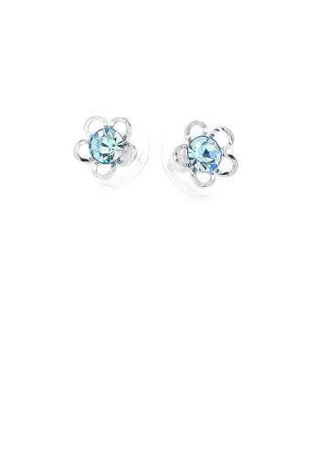 Glamorousky blue Flower Shape Pair Earrings with Bluele Austrian Element Crystals A4495AC8449878GS_1