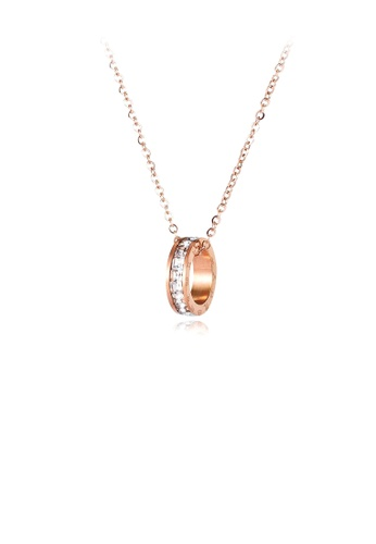 Glamorousky white Fashion Simple Plated Rose Gold Roman Numeral Geometric Circle 316L Stainless Steel Pendant with Cubic Zirconia and Necklace C29BBAC05697B5GS_1