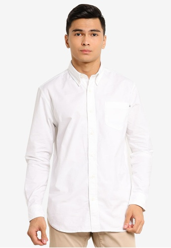 Timberland white Pleasant River Stretch Oxford Long Sleeve Shirt F7125AAD890FA1GS_1