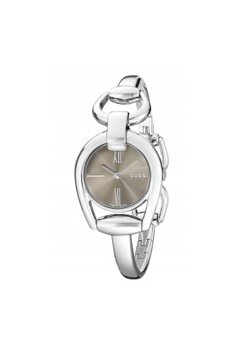 Gucci silver and brown GUCCI Horsebit Collection Brown Dial Ladies Watch 03871AC6BD5ECFGS_1