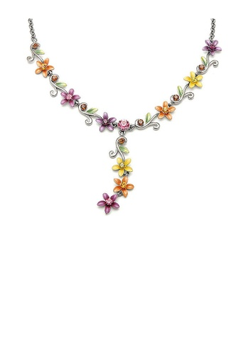 Glamorousky multi Orange Yellow and Purple Flowers Necklace with Austrian Element Crystals 4EBF3ACFD613D0GS_1