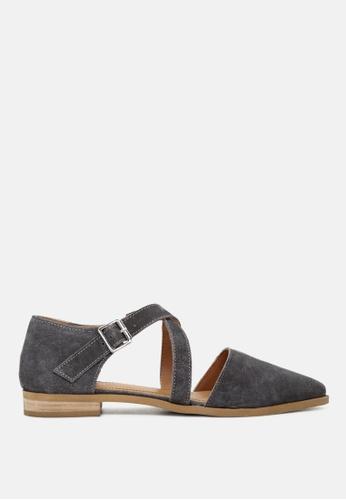 RAG & CO grey Pointed Toe Leather Flat Shoe 84EF6SHD051BF5GS_1