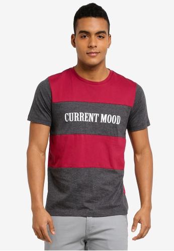 Marc & Giselle 紅色 撞色拼接短袖T恤 E4296AA85280EDGS_1