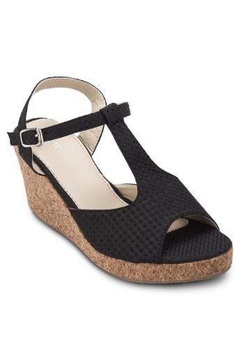 魚口踝帶楔形涼鞋, 女esprit outlet 家樂福鞋, 楔形涼鞋