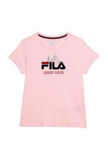 FILA pink FILA HONG KONG Logo Cotton T-shirt 5B6CFAAF5F9325GS_1