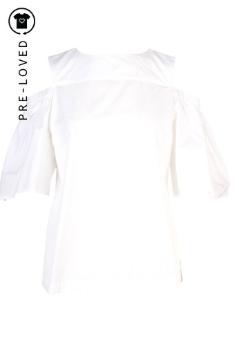 Iris&ink white Pre-Loved iris&ink White Blouse with Open Shoulder 43B57AAB023FB5GS_1