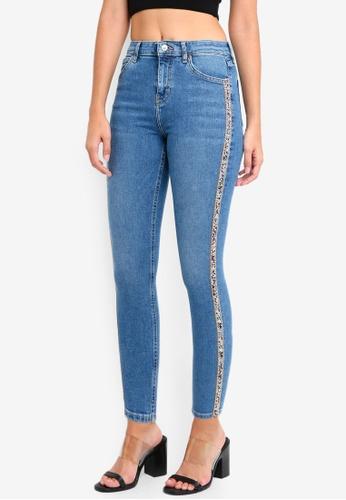 TOPSHOP 藍色 Moto Jewel Side Striped Jamie Jeans 406D4AA80DB8A1GS_1