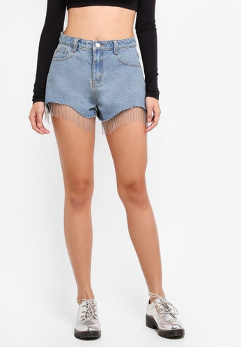 MISSGUIDED blue Beaded Tassel Trim Denim Shorts DE2AEAAE7DBB3AGS_1
