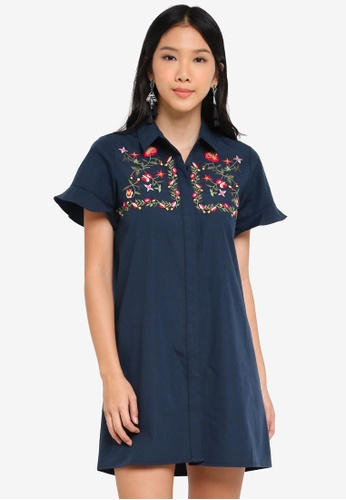ZALORA navy Embroidered Shirt Dress 952F4AAE90A7AFGS_1