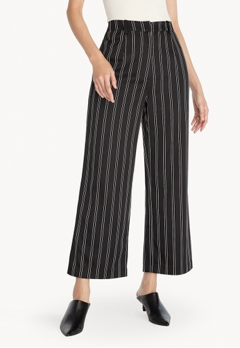 Pomelo black Striped Wide Leg Pants - Black 2B4F7AA8F559FBGS_1