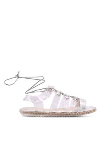 MISSGUIDED silver Perspex Upper Flat Lace Up Sandals 5C50BSH4E2572AGS_1