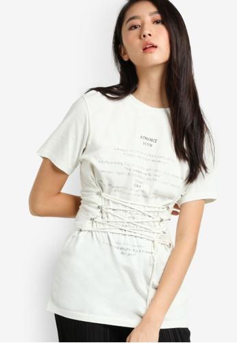 TOPSHOP beige Romance Corset T-Shirt TO412AA63ATWMY_1