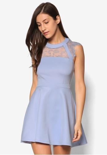 蕾絲拼接傘擺洋裝, 服飾esprit hk, 洋裝