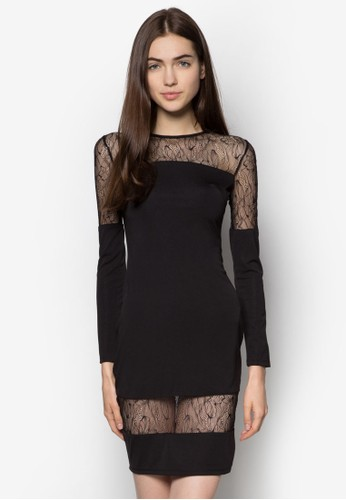 透視蕾絲拼接esprit hk連身裙, 服飾, 洋裝