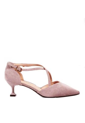Twenty Eight Shoes 粉紅色 尖頭絨面高踭鞋6208-1 F178FSH5A2113FGS_1